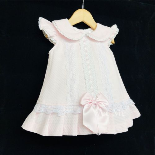 New Arrival Gorgeous Baby Girl Pink Spanish Dress Lace Details